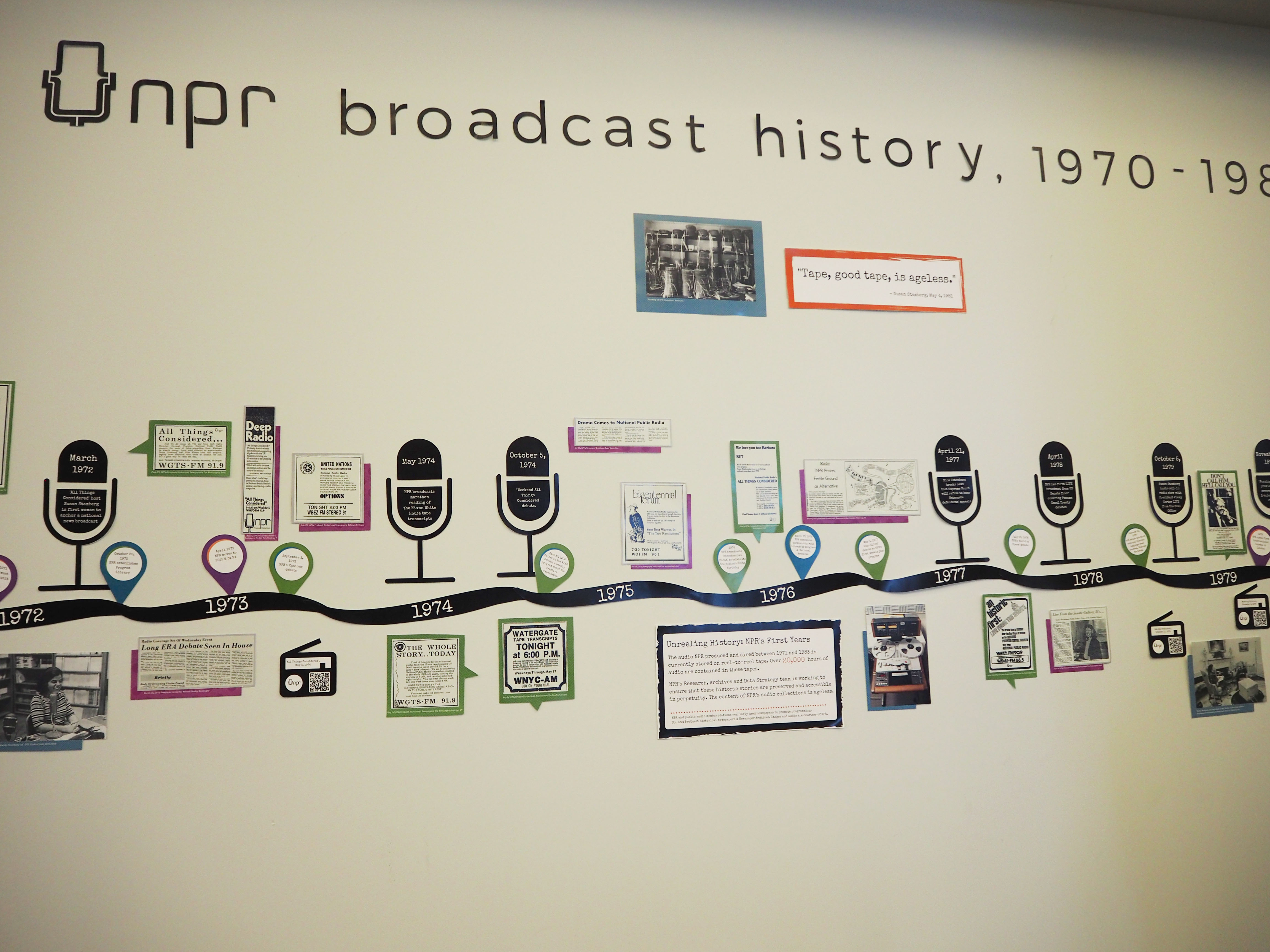 An office wall at the NPR headquarters documents the history of public radio.